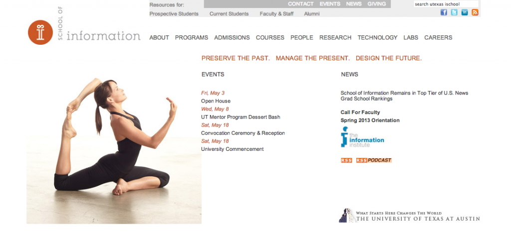 """Archived version of the iSchool website, featuring the infamous """"bendy people"""""""
