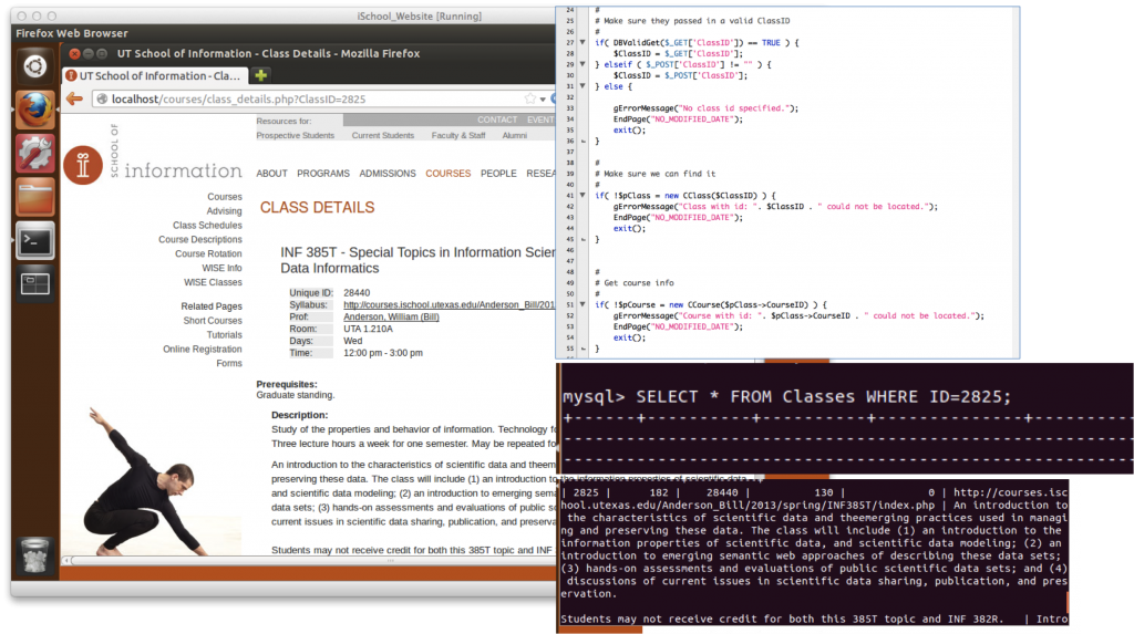 he page on the left is displayed in the Virtual Machine. The item on the top right is the PHP code that when processed by the server into HTML, and then rendered by the browser, makes the page on the left. The items on the bottom right show the database query and result which the PHP code then utilizes. Each of these components are accessible in the virtual machine.