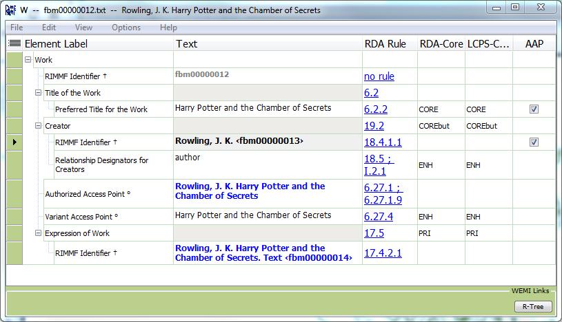 Screenshot of record in RIMMF