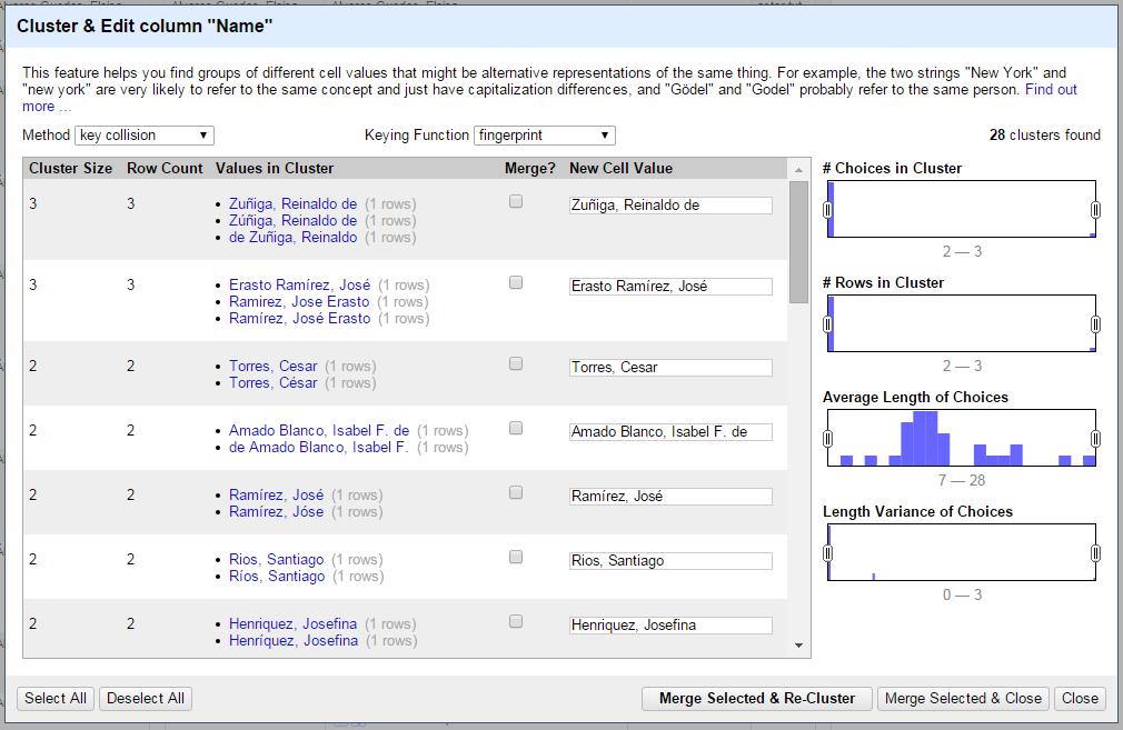 Screenshot of OpenRefine performing clustering