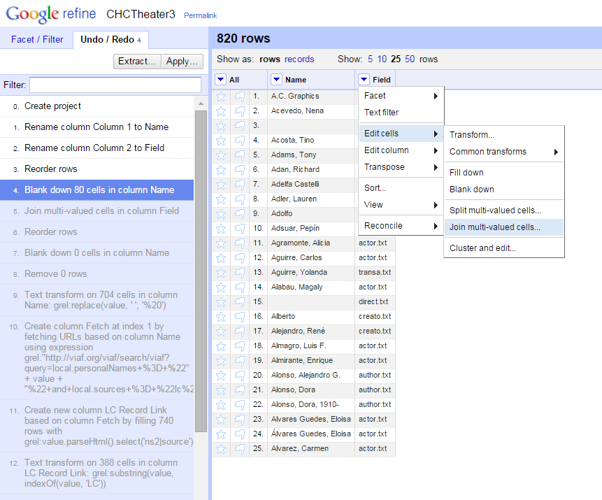 Screenshot of OpenRefine joining multi-value cells