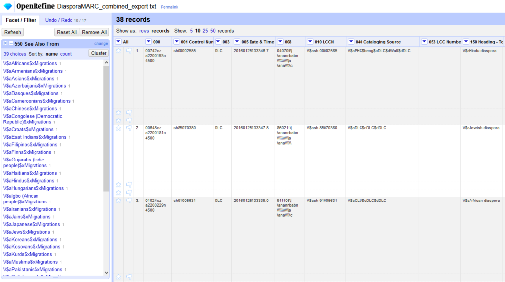 Screenshot of OpenRefine interface, showing a facet on the left and exported MARC record data in the main view.